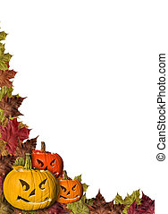 feuilles, halloween, potirons, fond, automne, blanc, cadre