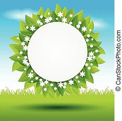 feuilles, herbe, vert, cadre