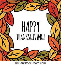 feuilles, heureux, cadre, jour, thanksgiving