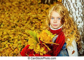 feuilles, jaune, tas