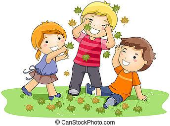 feuilles, jouer