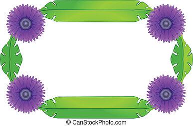 feuilles, lavande, vert, conception, fleurs, frontière