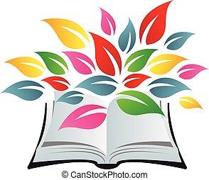 feuilles, livre, coloré