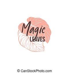 feuilles, logotype, monstera, gabarit, dessiné, main