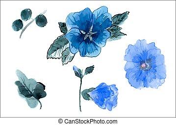 feuilles, main, aquarelle, mauve, dessiné, fleurs