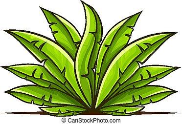 feuilles, main, bush tropical, vert, dessiné
