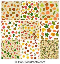 feuilles, neuf, seamless, automne, arrière-plans, ensemble