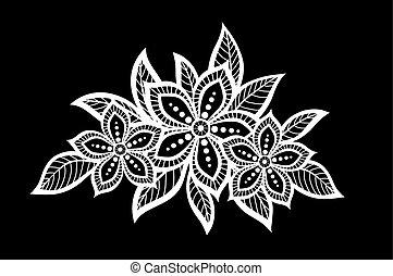 feuilles, noir, isolated., beau, fleurs blanches, monochrome
