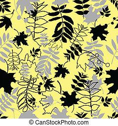 feuilles, noir, seamless