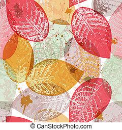 feuilles, papier peint, multicolore, seamless