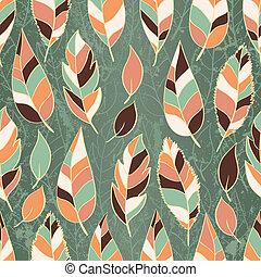 feuilles, papier peint, seamless