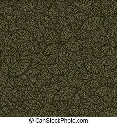 feuilles, papier peint, vert, seamless