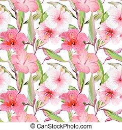 feuilles, pattern., seamless, exotique, arrière-plan., vecteur, conception, fleurs