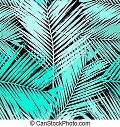 feuilles paume, arbre, seamless, modèle
