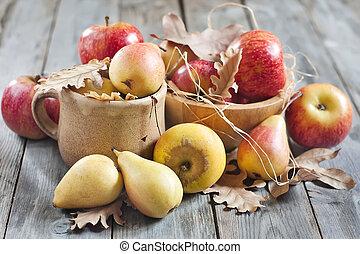 feuilles, pommes, poires, automne