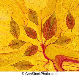 feuilles, résumé, fond, automne