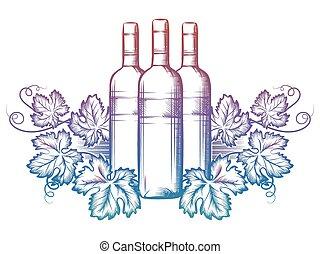 feuilles, raisin, bouteille, vin