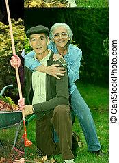 feuilles, rassemblement, couple, vieux, jardin