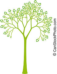 feuilles, recyclage, arbre, signe