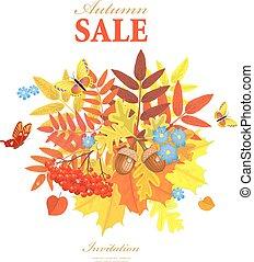 feuilles, salutation, automne, papillons, agréable, ton, carte