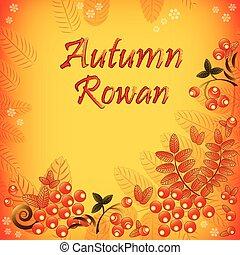 feuilles, seamless, automne, rowan, fond, baies