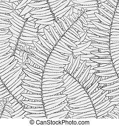 feuilles, seamless, fougère, arrière-plan noir, blanc
