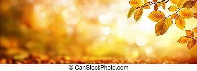 feuilles, shimmering, fond, automne, brouillé