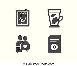 feuilles, signe., dater, nettoyage, icons., fichier, paramètres, bavarder, fenêtre, menthe