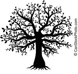 feuilles, silhouette, décor, arbre