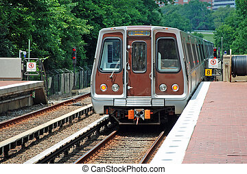 feuilles, station, métro, unité