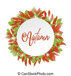 feuilles, style, dessin, space., automne, blanc rouge, vert, freehand, cercle