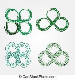 feuilles, stylisé, vert, beau