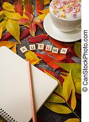 feuilles, table, fond, tasse à café, automne, cahier