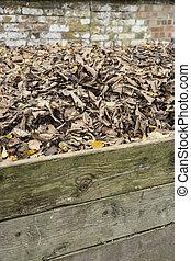 feuilles, tas, compost, heap.