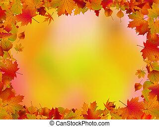 feuilles, text., eps, automne, 8, frontière, ton