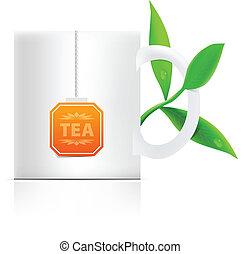 feuilles thé, étiquette, grande tasse, vecteur, teabag