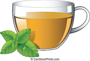 feuilles thé, menthe, verre, tasse