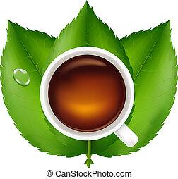 feuilles thé, vert, tasse