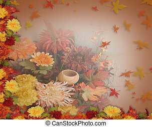 feuilles, thanksgiving, automne