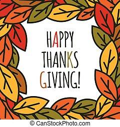 feuilles, thanksgiving, cadre, jour