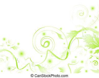 feuilles, tourbillons, résumé vert