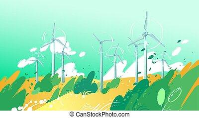 feuilles, turbines, blowig, champ, rotation, vent, dehors