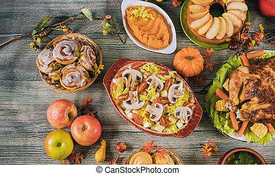 feuilles, turquie, automne, dîner, décoré, servi, pumpkin., thanksgiving