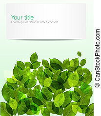 feuilles, vecteur, arrière-plan vert