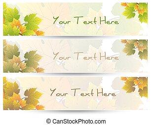 feuilles, vecteur, bannières, nature