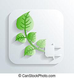 feuilles, vecteur, branche, icône