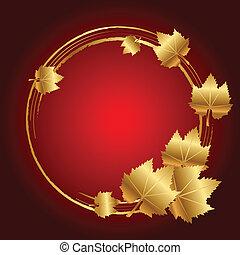 feuilles, vecteur, cadre, or, rouges