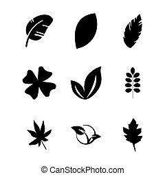 feuilles, vecteur, ensemble, icône