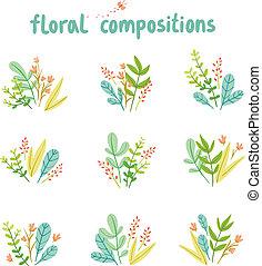feuilles, vecteur, fleurs, collection, compositions