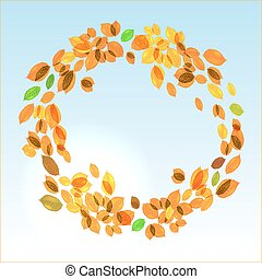 feuilles, vecteur, fond jaune, automne